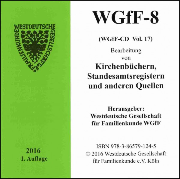 Verkartungen und Familienbücher auf CD/DVD: WGfF-8 (Vol. 17)