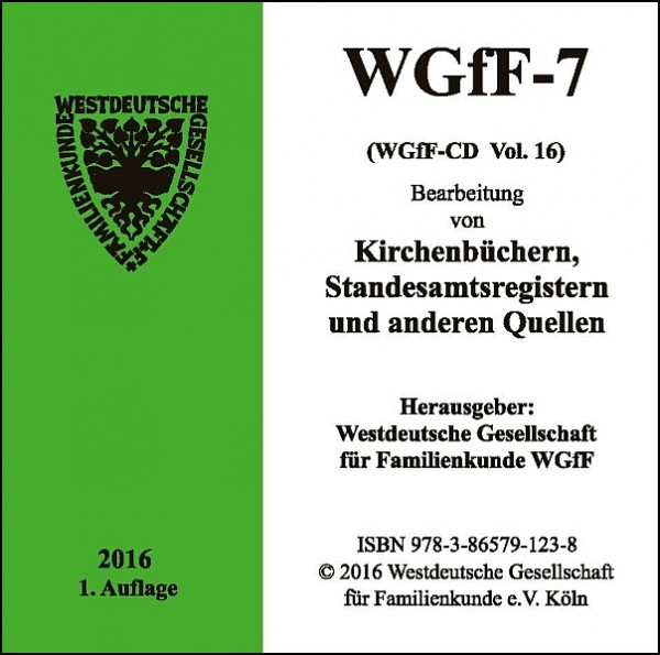 Verkartungen und Familienbücher auf CD/DVD: WGfF-7 (Vol. 16)
