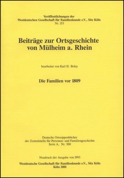 Familienbuch Mülheim am Rhein (Köln)