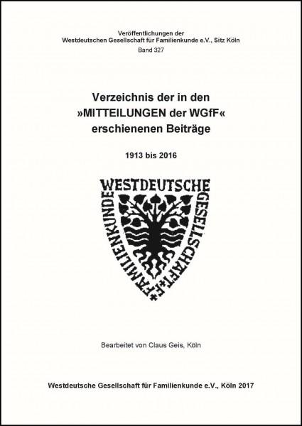 """Verzeichnis der in den """"Mitteilungen der WGfF"""" erschienenen Beiträge 1913-2016"""
