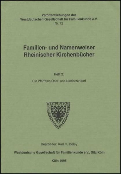 Familien- und Namenweiser: Ober- und Niederzündorf