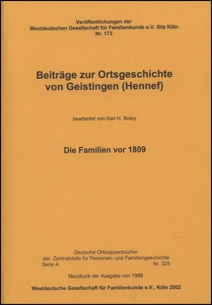 Familienbuch Geistingen