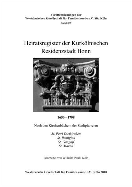 Familienbuch Bonn (Heiratsregister) 1650-1798