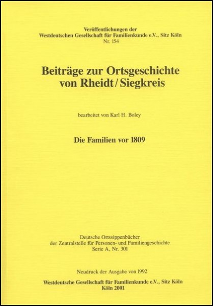 Familienbuch Rheidt / Siegkreis