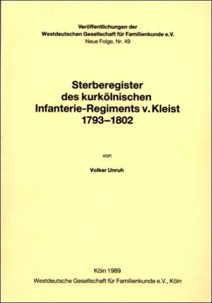 Sterberegister Regiment v. Kleist