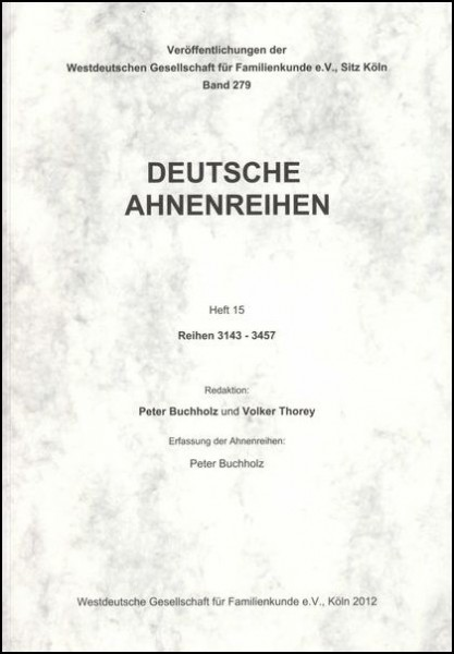 Deutsche Ahnenreihen Heft 15